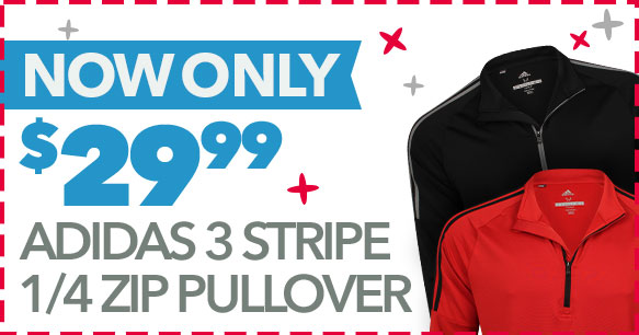 Adidas 3 Stripe 1/4 Zip Pullover | Now Only $29.99