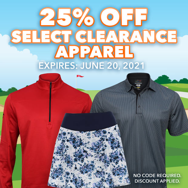 25% off Select Clearance Apparel. Expires June 20, 2021.
