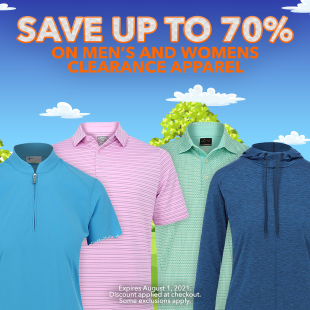 Save up to 70% on Men's and Women's Clearance Apparel