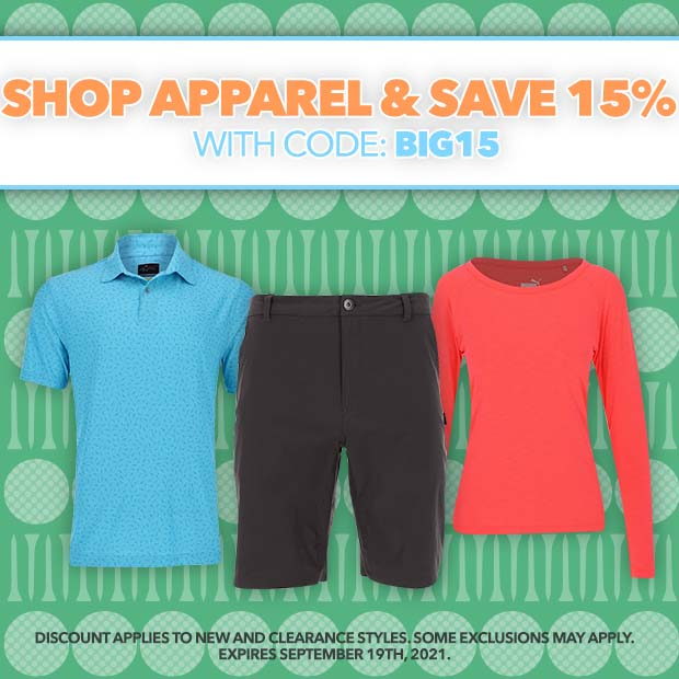 Shop Apparel - Save 15% off your order with code: BIG15. Discount applies to new and clearance styles. Some exclusions may apply. Expires September 19th, 2021