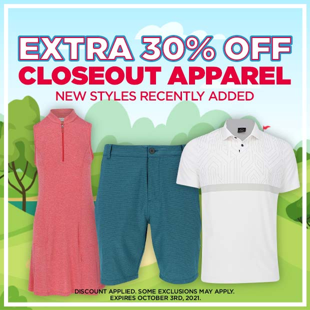 Extra 30% off CloseOut Apparel - New Styles Recenty Added - Discount applied. Some exclusions apply - Expires October 3rd, 2021.
