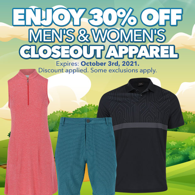 30% off Men's & Women's CloseOut Apparel - Expires October 3rd, 2021.