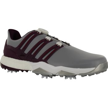 reputable site 1e226 fccea Adidas Powerband BOA Boost Golf Shoes - Mid Grey Red Night Mystery  RubyAdidas Powerband BOA Boost Golf Shoe